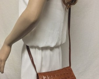 Brown Leather purse, Organizer bag,Croc Embossed ,Cross Body, Shoulder Bag, Soft,bag,purse