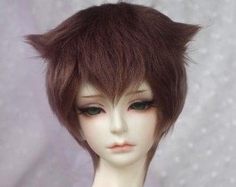 brown short BJD doll fur wig SD MSD yosd