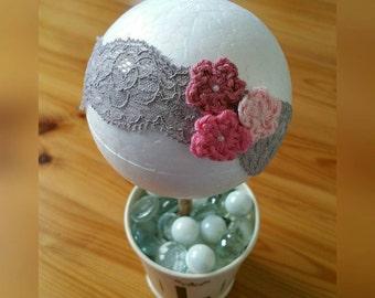 Grey Lace Elastic Headband Crochet Flowers Nb 0-6mths 6-12mths 1-3yrs