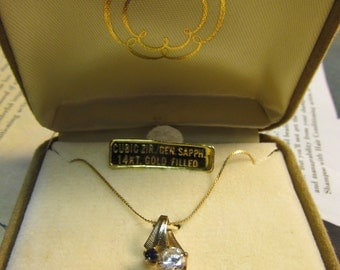 Vintage Cubic Zirconia/Genuine Sapphire Necklace with 14kt Gold Filled Chain