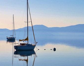 Peaceful Lake Tahoe, Tall Mast Sailboat Reflection on the Serene Lake Waters, Lake Photography, Wall Decor, Wall Art Print  9 x 12 Print