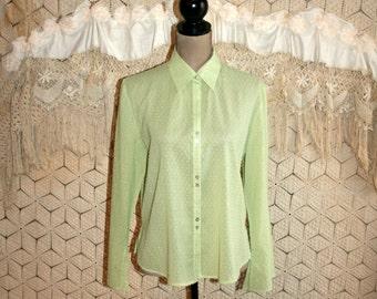 Lime Green Blouse Lightweight Swiss Dot Boho Shirt Long Sleeve Blouse Button Up Blouse Women Blouse Light Green Medium Large Womens Clothing