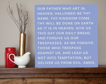 LARGE The Lord's Prayer Metal Sign Wall Art Print - Our Father, religious, Christian, 10 color choices