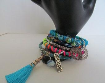 Boho bangles, tassel bracelet, fabric bangles, set of 5 plus size bangles, gypsy fabric bangles, stacking bangles, hippie bracelet, charms