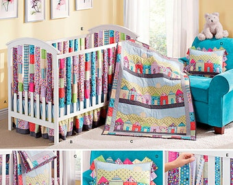 Simplicity 1384  Crib Sheet, Dust Cover, Quilt, Pillow and Vertical Bumpers. Pattern is new and uncut.