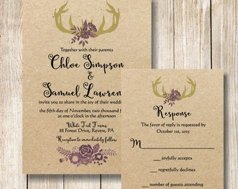 Antler Wedding Invitation, Gold and Purple Antler Wedding Invite, Rustic Deer Antler and Kraft Wedding Invitation and RSVP Card