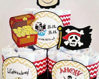 Attractive Pirate Diaper Cake, Mini Diaper Cake Centerpieces, Baby Shower Center  Piece, Ahoy Itu0027s