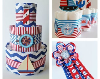 Nautical Baby Shower, Nautical Diaper Cake, Sailor Table Centerpiece, Mommy to Be Corsage, Anchor Mini Diaper Cakes, Ahoy Its A Boy Theme