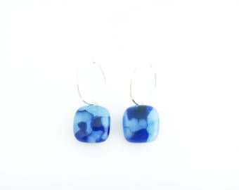 Recycled wine bottle earrings in blue and white on sterling silver hoops/Upcycled blue and frosted glass kiln-fused earrings/Eco-friendly