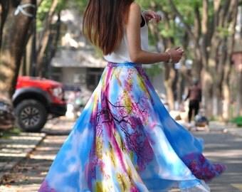 High Waist Long Floral Skirts Chiffon Elastic Waist Summer Skirt Custom Made (173)