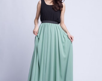 High Waist Maxi Skirt Chiffon Silk Skirts Beautiful Bow Tie