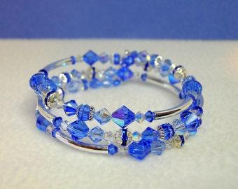 Sapphire Crystal Memory Wire Bracelet
