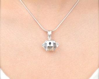 Double Point Herkimer Diamond Pendant // Herkimer Diamond Jewelry // Quartz Jewelry // Sterling Silver // Village Silversmith