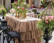 "Rectangular Ruffled Burlap  Tablecloth  72""L x 30""W x 30""H. - Wedding table cloth"