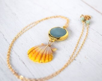 Turkish Jade and Yellow Shell, Sunrise shell and Turkish Jade necklace
