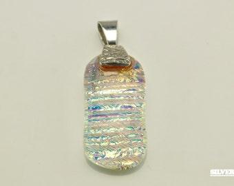 Vintage Opal Quartz Sterling Silver Pendant 1 1/10 Inch Tall