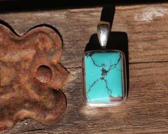Small Spider Web Turquoise Pendant set in Sterling Silver, Natural Turquoise Gemstone, NZT15