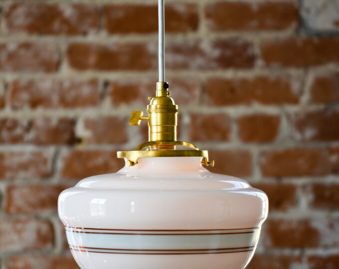 "Free Shipping! Pendant Lighting Gold Brass - 10"" White Turquoise Blue Painted Banding Schoolhouse Glass Globe - Cloth Wire Ceiling Canopy"