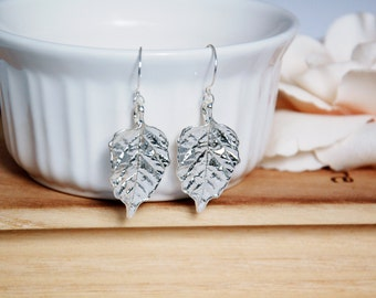 Silver Leaf Earrings - Dangle Earrings - Sterling Silver - Woodland Jewelry