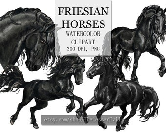 Friesian Horses Clipart, Digital Watercolor Illustration, Horse Clip Art, Hand Drawn Horse, Frisian Stock Illustration