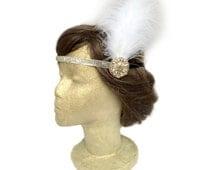 Champagne Headband, Flapper Headband, 1920s Wedding, Gatsby Headpiece, Beaded Headband, Prom Hair, Bridal Fascinator with White Feather