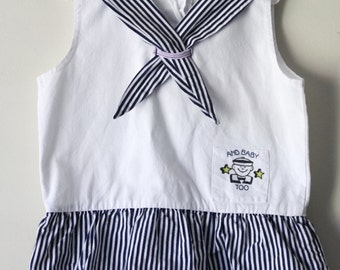 Vintage 1980s Nautical Blue and White Striped Tiered Dress with Sailor Girl Collar Size 2