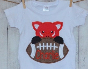 Personalized Arkansas Razorback Hog Tusk Applique Shirt or Onesie