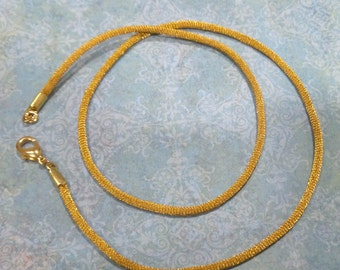 18 inch, 24 inch, or 30 Inch Necklace -- Gold Satin Necklace Cord with Gold Plated Lobster Clasp, Autumn, Ready to Ship