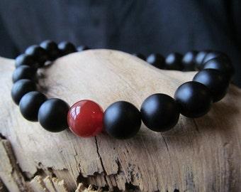 Mens Matte Black Onyx Bracelet with Carnelian, Stacking Bracelet, Gift for Men, Mens Jewelry, Beaded Bracelet, Stretch Bracelet