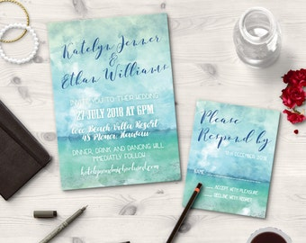 Digital Printable Files Turquoise Teal Blue Sea Sand Beach Watercolor Painting Wedding Invitation Reply Card Set Wedding Stationery ID657