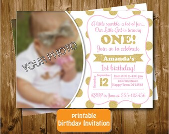 Printable Pink and Gold Girls 1st 2nd Birthday Invitation  Polkadots Invitation Party Picture Invitation