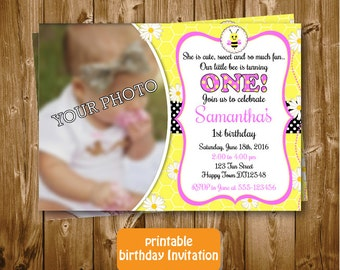 Any Age Bumble Bee Printable 1st 2nd 3rd 4th 5th 6th 7th Birthday Invitation Bumble Bee Photo Birthday Invitation