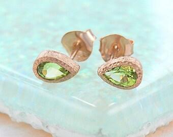Rose Gold Earrings, Peridot Gemstone, Green Gemstone, Teardrop Studs, Green Stone, Peridot Earrings, Rose Gold Studs, Birthday Gift, Embers