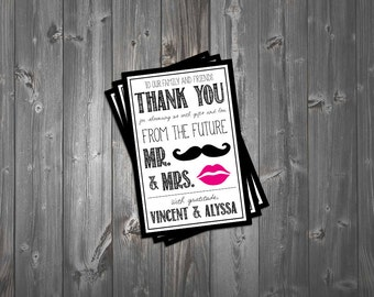 Mustache & Lips Couple's Shower Thank You Card