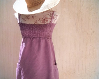 Mini dress-linen dress-strapped dress-beach cover-sundress-beach party-short dress-lilac dress-purple dress-boho-hippie-ballon style dress