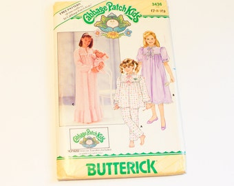 SIZE 7 8 10 Girl's PAJAMAS & NIGHTGOWN 3436 Cabbage Patch Kids Childrens Butterick Uncut Sewing Pattern 1980s Vintage Doll Pjs Night Shirt