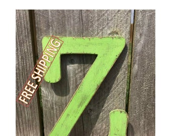 Distressed wooden letter Z Gungsuh font Free Shipping! perfect for nursery decor, home decor, wedding decor, party decor, and party favors.