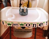 I am One High Chair Banner - Photo Prop Decor - Baby 1st Birthday - 1st Birthday Boy - I Am One High Chair Sign - Bunting Banner - Mustache