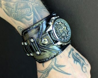 Steampunk watch, Frogged leather strap, Leather watch strap, Steampunk watch, Men's leather watch, Leather watch strap