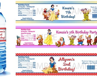 Snow White Water Bottle Labels - PRINTED FOR YOU - Birthday Party Supplies Favors