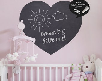 Write and Erase Heart Chalkboard Decal- Removable Heart Vinyl Wall Sticker - Chalk Pen Included