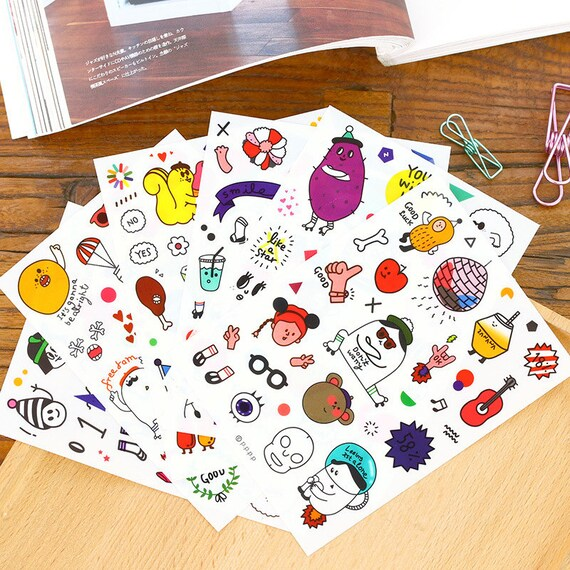 funny pompon doll stickers set daily deco sticker 6 sheets from hahahihihuhu on etsy studio. Black Bedroom Furniture Sets. Home Design Ideas