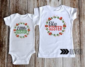 CHRISTMAS Big Sister T-Shirt & Little Sister Bodysuit Photo Prop / Big Sister Little Sister outfits