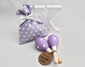 Purple & White Polka Dot Baby Rattle, Baby Toy, Baby Maraca, Wooden Toy
