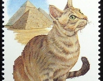 Egyptian Mau Cat -Handmade Framed Postage Stamp Art 0765