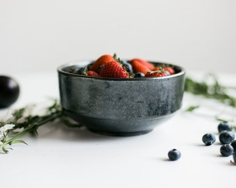Handmade Black Ceramic Bowl