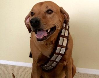 Handmade Custom Star Wars Chewbacca Inspired Dog Bandolier Costume, Attaches by buckle