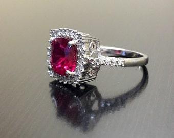 Halo Diamond Ruby Engagement Ring - Ruby Diamond Wedding Ring - Art Deco Ruby Ring - Halo Diamond Ring - Halo Ruby Ring - Silver Ruby Ring