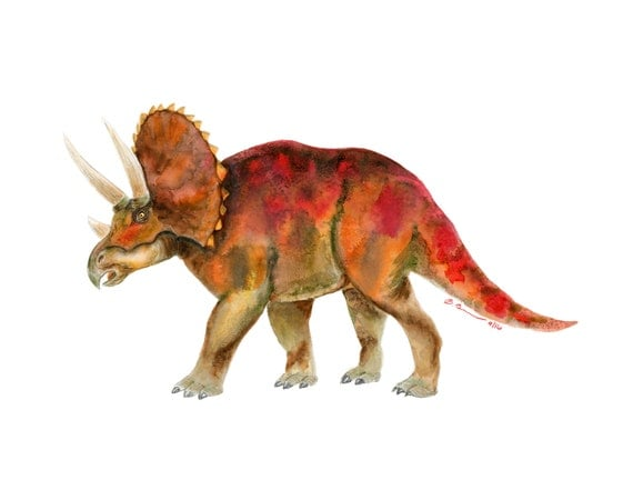 Dinosaur Painting Triceratops Watercolor By Tinytoesdesign