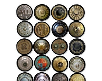 Antique Safe Dials - Dresser Knobs - Steampunk, Yale, Vintage, Rusty, Grungy, Old, Mancave, Office, Desk - Drawer Pull, Cabinet - 815Z8